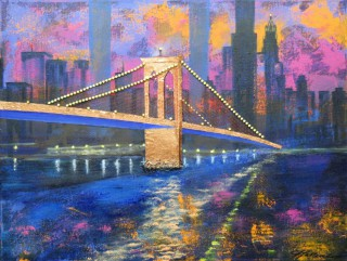 A Mixed Media artwork by Annette Pattenden in the Semi-Abstract Impressionist style  depicting Bridge Buildings and City with main colour being Blue Purple and Yellow and titled Brooklyn Bridge