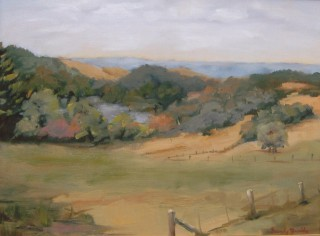 An Oil painting by Beverley Braddy in the Realist style  depicting Landscape Rural with main colour being Grey Ochre and Olive and titled Kerri, Victoria