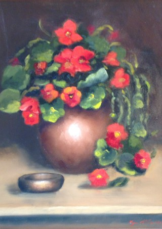 An Oil painting by Lyn Ellis in the Realist style  depicting Flowers and Vases with main colour being Brown Cream and Ochre and titled Nasturtiums
