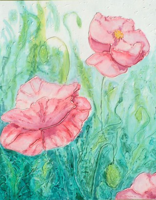 A Mixed Media artwork by Alex Mortensen in the Contemporary Realist style  depicting Flowers with main colour being Blue Green and Pink and titled POPPY GARDEN