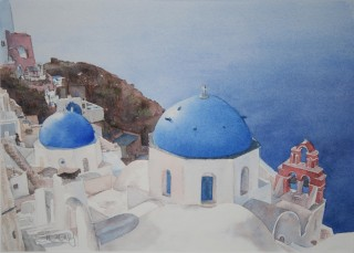 A Watercolour artwork by Sharon Moroney in the Realist Impressionist style  depicting Buildings and Water with main colour being Blue Brown and White and titled Santorini Coast