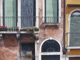 A Watercolour artwork by Nicholas Truscott in the Realist style  depicting Buildings and titled Venetian Facade