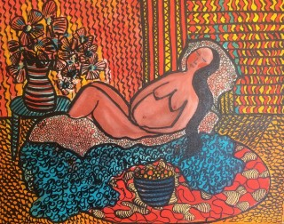 An Acrylic painting by Julie Rooney in the Contemporary style  depicting Nude and Woman with main colour being Blue Orange and Red and titled Woman Reclining