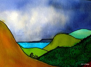 A  painting by Valarie Ross depicting  Mountains and titled Landscape 3