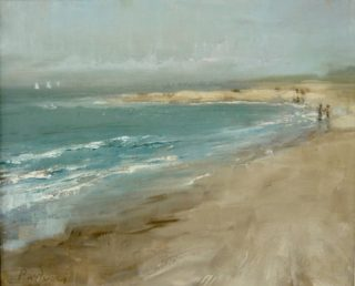 A  painting by Helen Paulucci depicting  Beach and titled Beach Scene 2