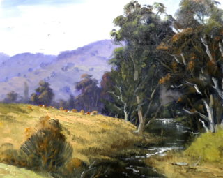 An Oil painting by Diana Garth in the Realist style  depicting Landscape Bush Creek and Mountains with main colour being Blue Green and Purple and titled Melrose Creek