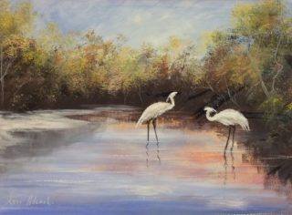 An Acrylic painting by Keri Adcock in the Realist Impressionist style  depicting Landscape Birds and Water with main colour being Blue Brown and Cream and titled Egrets Foraging