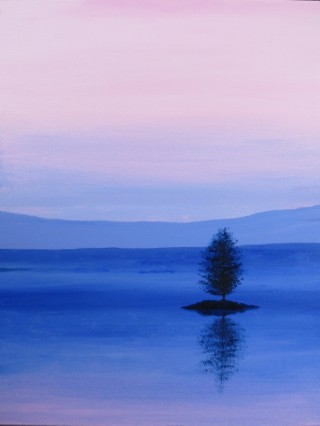 An Acrylic painting by John Pattenden in the Realist style  depicting Lake Trees and Water with main colour being Blue and Pink and titled A New Day