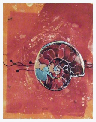 A Mixed Media painting by Amanda Aish Beach with main colour being Orange and Red and titled Beach Spiral