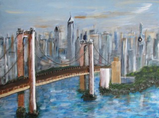A Mixed Media painting by Annette Pattenden in the Semi-Abstract Impressionist style  depicting Bridge Buildings and City with main colour being Blue and Brown and titled Bridge to City of Dreams 1