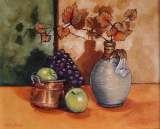 An Oil painting by Karin Bowler depicting Still Life Flowers Fruit and Pots with main colour being Green Ochre and Orange and titled Autumn Leaves & Fruit