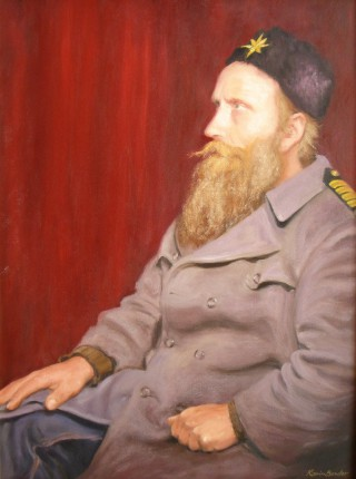 An Oil painting by Karin Bowler depicting Portrait Man with main colour being Ochre Purple and Red and titled The Soldier