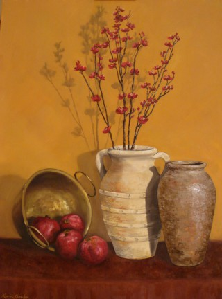 An Oil painting by Karin Bowler in the Contemporary Realist style  depicting Still Life Clay Pots Flowers and Fruit with main colour being Brown Orange and Red and titled Cherry Blossoms and Pomegranates