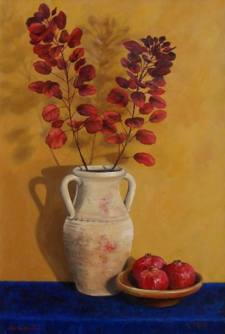 An Oil painting by Karin Bowler in the Realist style  depicting Still Life Flowers Fruit and Vases with main colour being Blue Ochre and Orange and titled Autumn Leaves