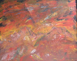 An Acrylic painting by Annette Pattenden in the Abstract style  with main colour being Orange Pink and Red and titled Dreamtime