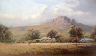 An Oil painting by Richard Chamerski in the Impressionist style  depicting Rural Rocks with main colour being Blue Green and Ochre and titled Hanging Rock - Morning