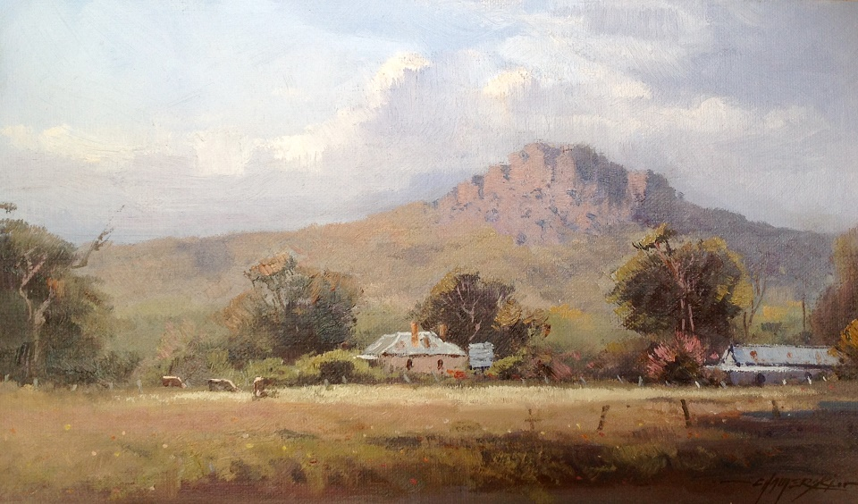Oil Painting by Richard Chamerski titled Hanging Rock - Morning