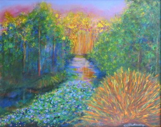 An Acrylic painting by Annette Pattenden in the Semi-Abstract Impressionist style  depicting Landscape River with main colour being Green and Yellow and titled Gentle River