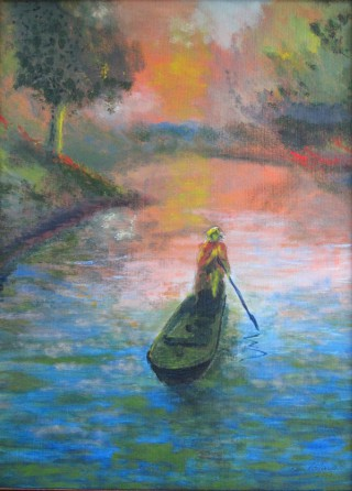 An Acrylic painting by John Pattenden in the Realist style  depicting Lake Boats and River with main colour being Blue and Red and titled Lady of the Lake