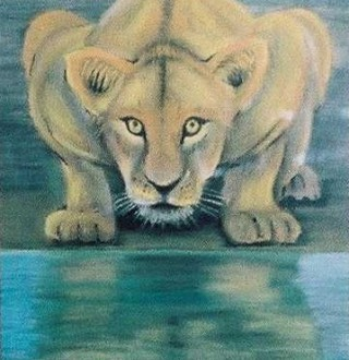 A Pastel artwork by John Pattenden in the Realist style  depicting Animals with main colour being Green and Ochre and titled Lioness
