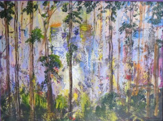 An Acrylic painting by Annette Pattenden in the Semi-Abstract Impressionist style  depicting Landscape Bush and Trees with main colour being Green and Purple and titled Lost City