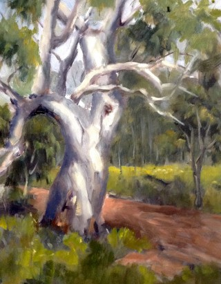 An Oil painting by Simone Phanthakoun in the Realist style  depicting Bush Rural and Trees with main colour being Green Grey and Ochre and titled A Country Track