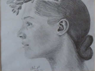 A Pencil painting by John Pattenden in the Realist style  depicting Portrait Woman with main colour being Grey and titled Study in Pencil