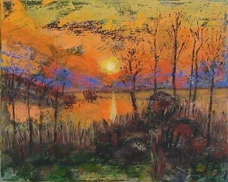 An Acrylic painting by Annette Pattenden in the Semi-Abstract Impressionist style  depicting Landscape Sunset with main colour being Blue Green and Orange and titled Sunset Reflections
