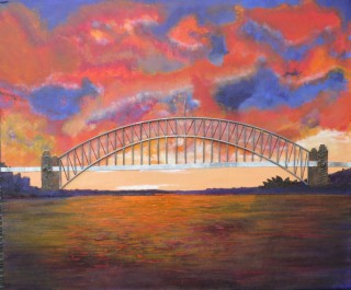 A Mixed Media painting by Annette Pattenden in the Contemporary style  depicting Bridge City with main colour being Blue Brown and Red and titled Sydney Harbour
