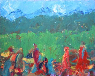 An Acrylic painting by Annette Pattenden in the Semi-Abstract Impressionist style  depicting People Party with main colour being Blue Green and Red and titled Tibetan Wedding Party