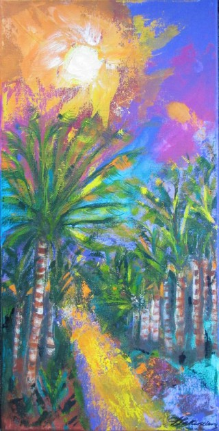 An Acrylic painting by Annette Pattenden in the Contemporary style  depicting Landscape Sunset and Trees with main colour being Green Purple and Yellow and titled Tropical Paradise