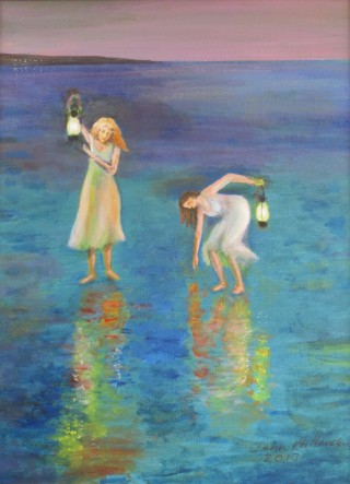 An Acrylic painting by John Pattenden in the Realist style  depicting Children Girl and Water with main colour being Blue Green and Yellow and titled Two Maidens