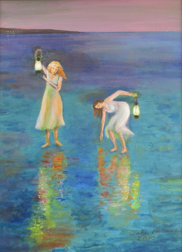 Acrylic Painting by John Pattenden titled Two Maidens
