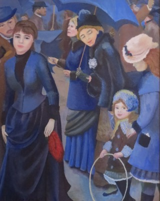 An Acrylic painting by John Pattenden in the Realist style  depicting People with main colour being Blue and titled Umbrellas
