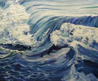 A Mixed Media painting by Amanda Aish in the Realist style  depicting Beach Water and Waves with main colour being Blue and titled Volume