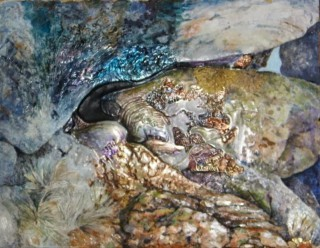 A Mixed Media painting by Amanda Aish in the Abstract style  Rocks with main colour being Blue Brown and Grey and titled Within the rock