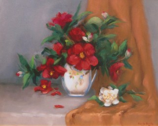 An Oil painting by Beverley Braddy in the Realist style  depicting Still Life Flowers and Vases with main colour being Cream Grey and Ochre and titled Red Camellias