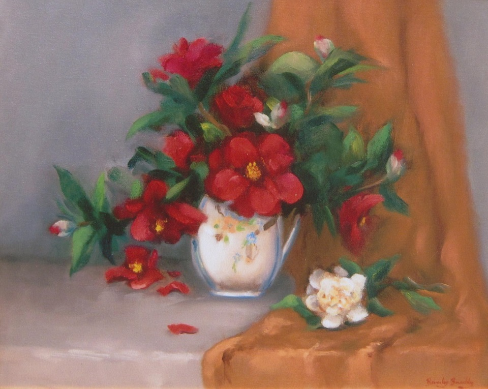 Oil Painting by Beverley Braddy titled Red Camellias