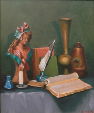 An Oil painting by Beverley Braddy in the Realist style  depicting Still Life Books Candles and Statue with main colour being Cream Grey and Ochre and titled Girl with the Pink Bow