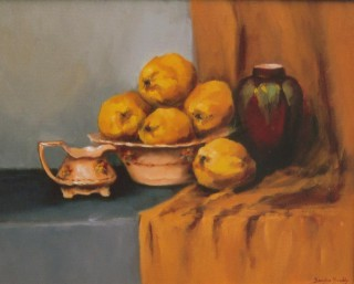 An Oil painting by Beverley Braddy in the Realist style  depicting Still Life Fruit Pots and Vases with main colour being Blue Grey and Ochre and titled Antiques & Quinces