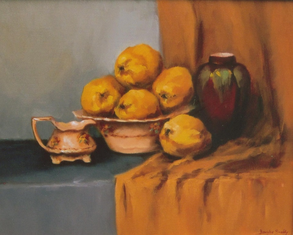 Oil Painting by Beverley Braddy titled Antiques & Quinces