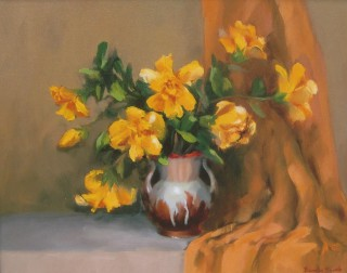 An Oil painting by Beverley Braddy in the Realist style  depicting Flowers and Vases with main colour being Brown Ochre and Olive and titled A Splash of Yellow