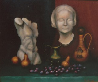 An Oil painting by Beverley Braddy in the Realist style  depicting Still Life Fruit Statue and Vases with main colour being Brown and Grey and titled Cast & Grapes