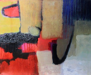A Mixed Media artwork by Marian Alexopoulos in the Abstract style  depicting  with main colour being Black Blue and Grey and titled Black Seam