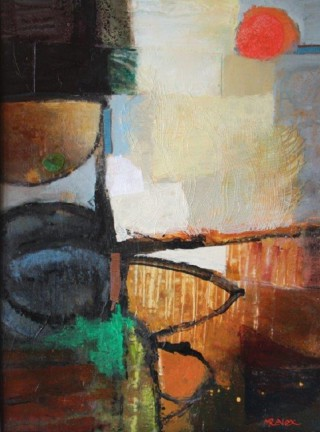 A Mixed Media painting by Marian Alexopoulos in the Abstract style  with main colour being Black Brown and Cream and titled Bushtucker