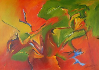 An Acrylic painting by Harald Korte in the Abstract style  with main colour being Green and Red and titled Cosmic Storm
