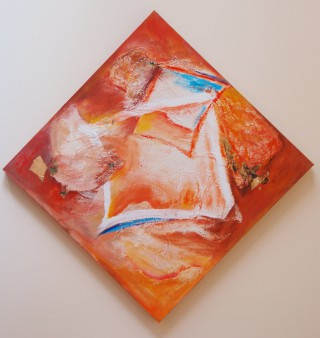 A Mixed Media painting by Harald Korte in the Abstract style  with main colour being Orange Pink and Red and titled Flotsam