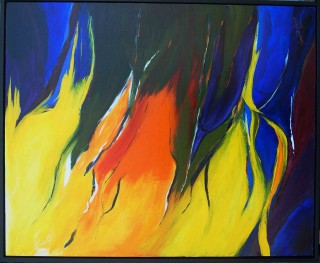 An Acrylic painting by Harald Korte in the Abstract style  depicting  with main colour being Black Blue and Red and titled Colours of Summer