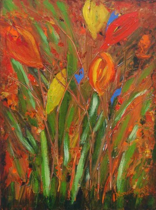 An Acrylic painting by Harald Korte in the Semi-Abstract Impressionist style  depicting Flowers with main colour being Red and titled Colours of Spring 1