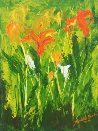 An Acrylic painting by Harald Korte in the Semi-Abstract Impressionist style  depicting Flowers with main colour being Green and titled Colours of Spring 2